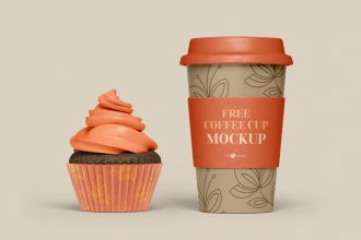 Free PSD Coffee Set Mockup Template