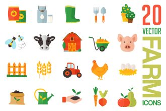Free Farm Icons Vector Template