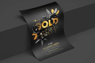 Free PSD Gold Night Party Flyer Template
