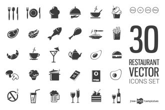 Free Restaurant Icons Vector Template