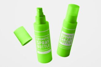 Free Cosmetic Spray Bottle Mockup Set