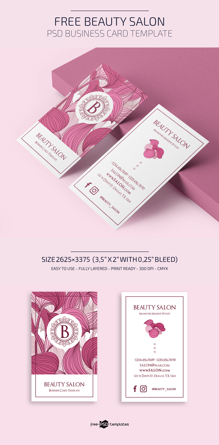 Free Beauty Salon Business Card Template Free Psd Templates
