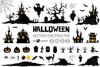 Free Halloween Vector Constructor Template