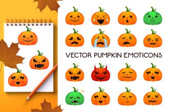 Free Vector Pumpkin Emoticons Templates