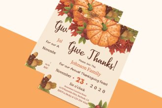 Free Thanksgiving Day Invitation Template in PSD