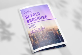 Free Bi-fold Brochure Mockup Set