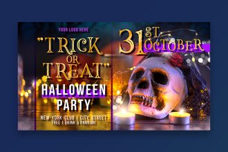 Free Halloween Party Banner Set Template + Photo