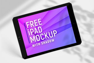 Free iPad With Shadow Mockup Set