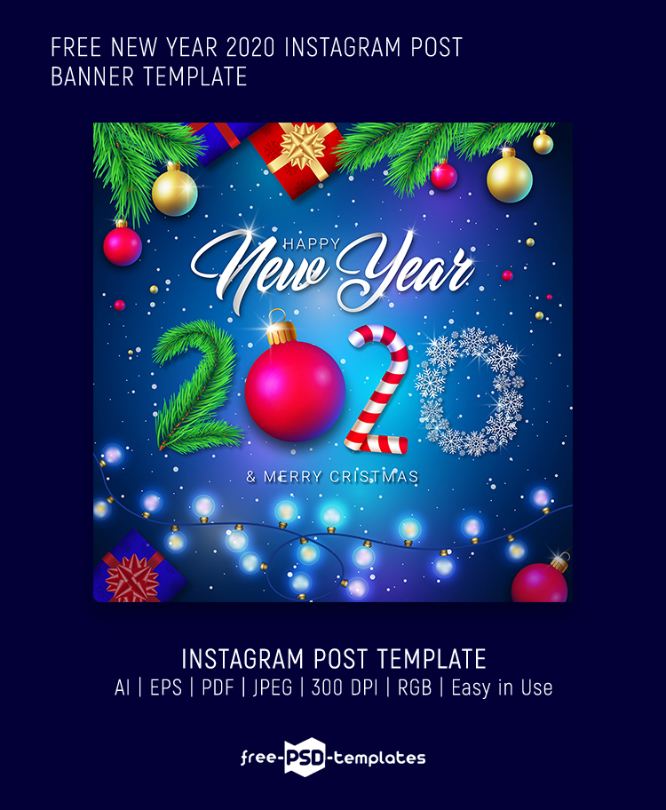 Free New Year 2020 Instagram Post Banner Template