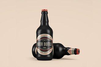 Free Ceramic Beer Bottle Mockups