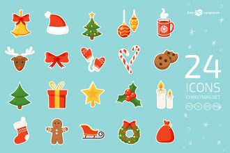Free Christmas Icons Vector Template