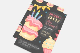 Free Birthday Party Invitation Template in PSD