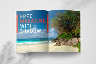 Free Magazine With Shadow Mockup Set