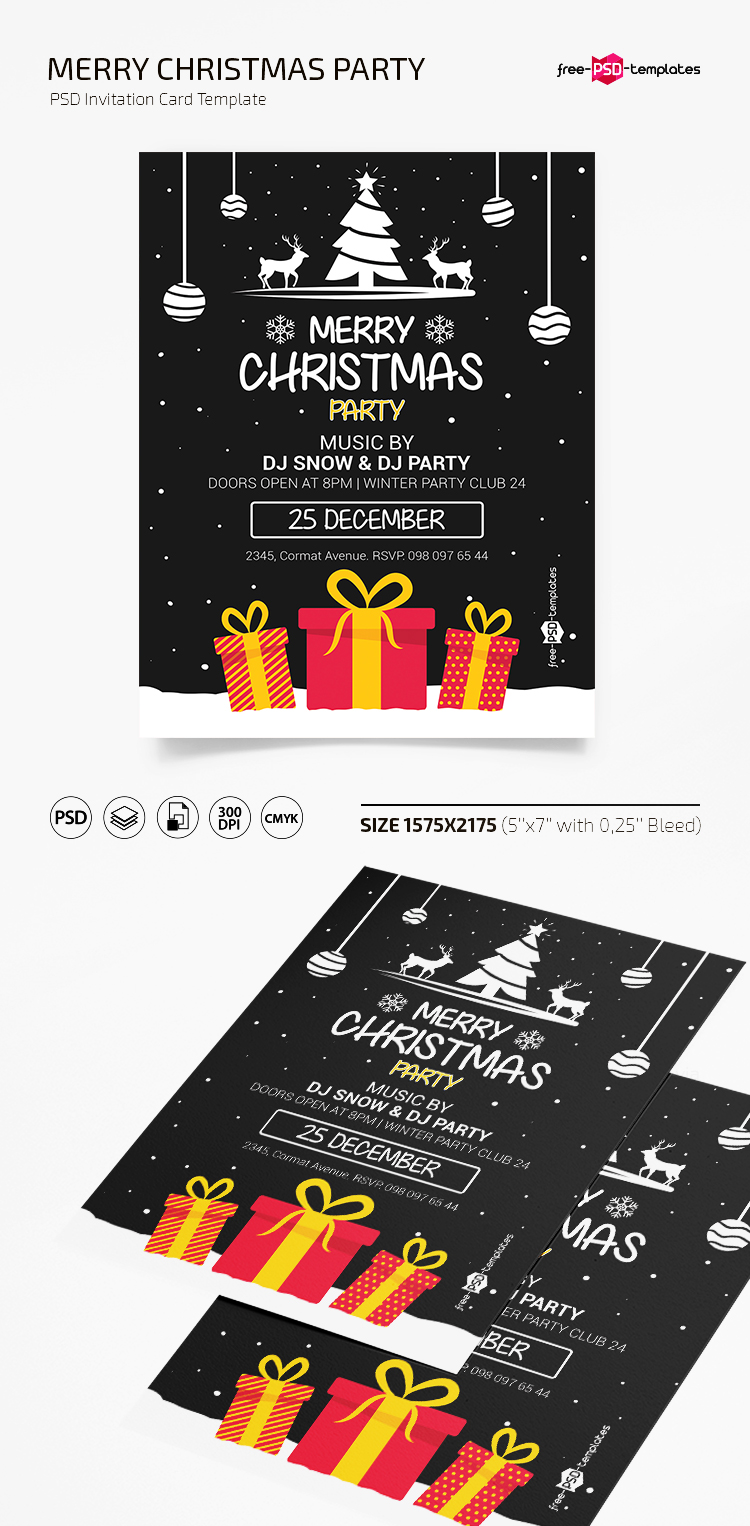 Free Christmas Party Invitation Template In Psd Free Psd