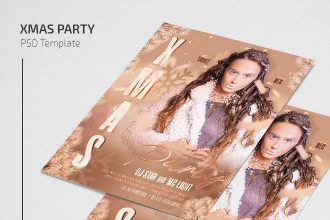 Free XMas Party Flyer Template in PSD