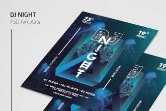 Free Dj Night Flyer Template in PSD