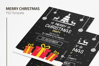 Free Christmas Party Invitation Card Template in PSD