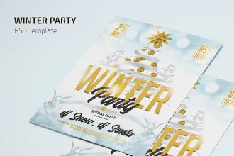 Free Winter Party Flyer Template in PSD