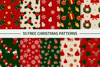 10 Free Christmas Vector Patterns Set