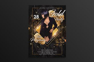 Free Golden Night Club Flyer Template