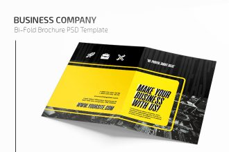 Free Business Company Bi-Fold Brochure in PSD