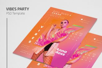 Free Vibes Party Flyer Template in PSD