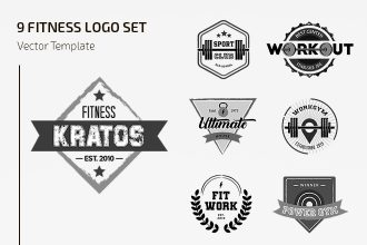 Free Fitness Logo Set Template