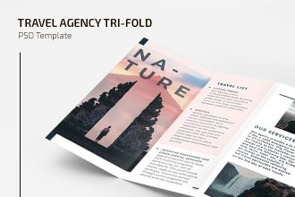 Free Travel Agency Tri-fold Broshure Template in PSD