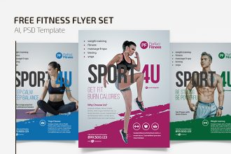 Free Fitness Flyer Set Template