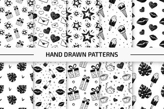 10 Free Hand Drawn Vector Patterns Set