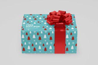 Free PSD Gift Box Mockup Set