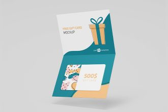 Free PSD Gift Cards Mockup Set