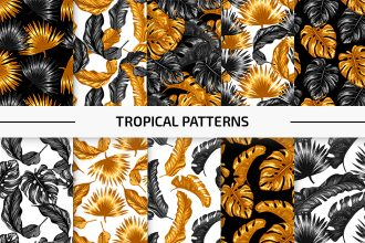 10 Free Tropical Vector Patterns Set