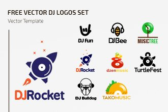 Free Vector Dj Logos Set Template