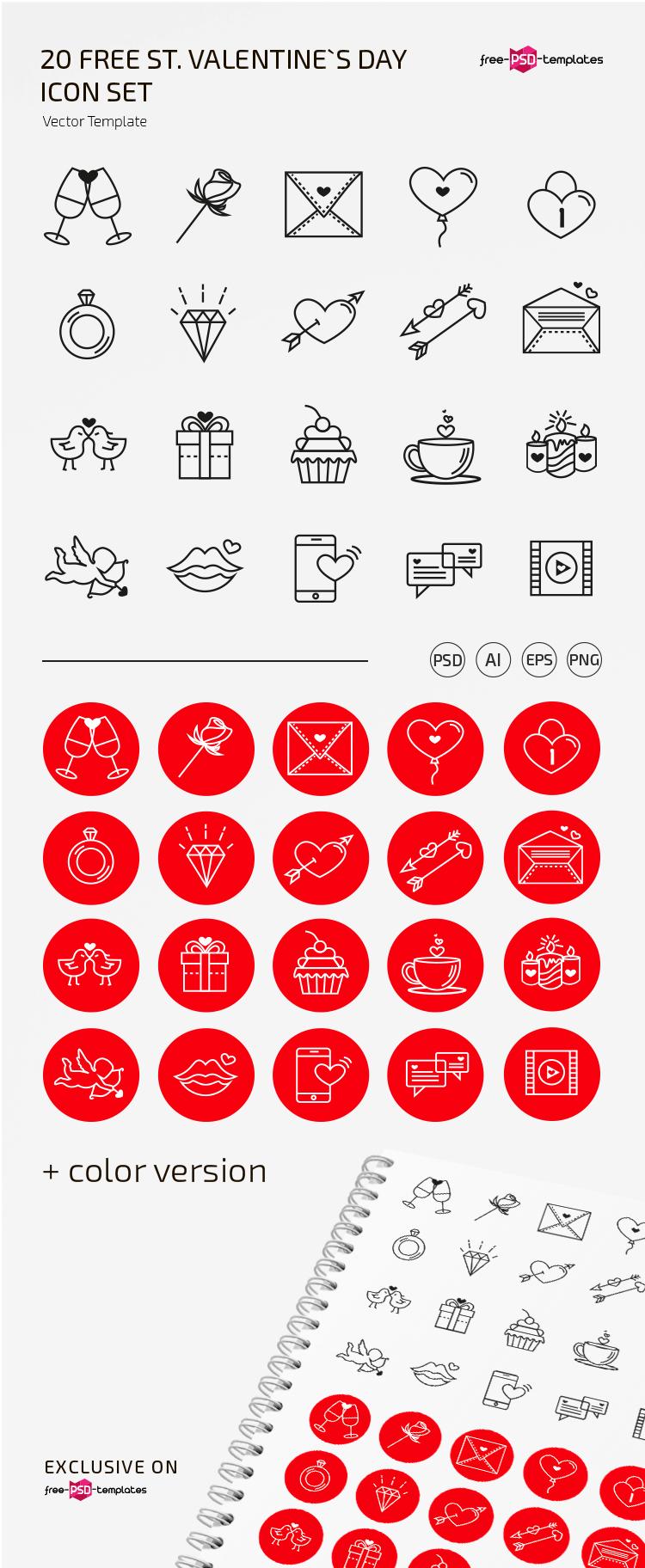 Free vector Valentine's icons