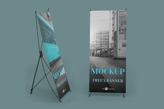 Free X Banner Mockup in PSD