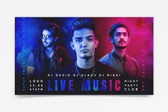 Free DJ party Banner Template PSD