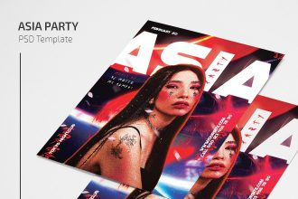 Free Asia Party Flyer Template in PSD