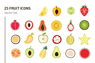 25 Free Fruit Icons Vector Template
