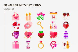 Free Vector Valentine`s Day Icons Template