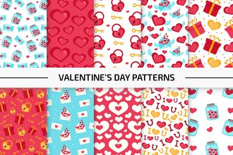 10 Free Valentine's Day Vector Patterns Set