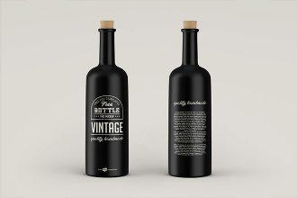Free PSD Vintage Bottles Mockup Template