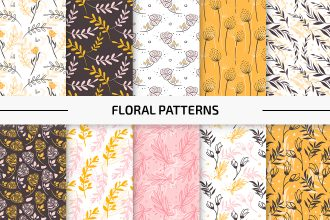 10 Free Floral Vector Patterns Set