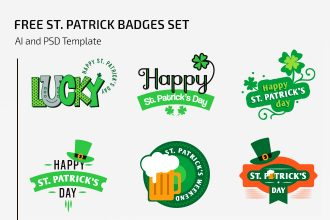 Free St. Patrick Badges Set