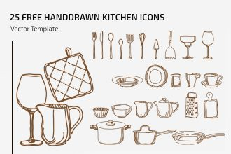 25 free vector handdrawn kitchen icons