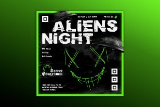 Free Aliens Night Banner Set Template