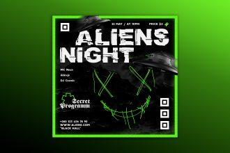 Free Aliens Night Banner Set Template