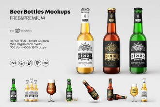 Free Beer Bottle Mockup Set + Premium Version