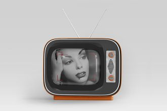 Free Vintage TV Mockup in PSD