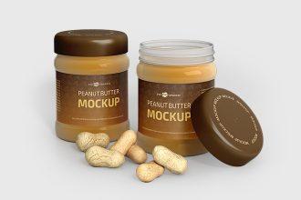 Free PSD Peanut Butter Jar Mockup Templates